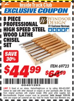 Harbor Freight ITC Coupon 8 PIECE PROFESSIONAL HIGH SPEED STEEL WOOD LATHE CHISEL SET Lot No. 69723 Valid Thru: 12/31/18 - $44.99