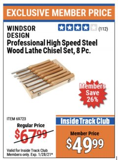 Harbor Freight ITC Coupon 8 PIECE PROFESSIONAL HIGH SPEED STEEL WOOD LATHE CHISEL SET Lot No. 69723 Valid Thru: 1/28/21 - $49.99
