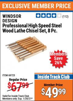 Harbor Freight ITC Coupon 8 PIECE PROFESSIONAL HIGH SPEED STEEL WOOD LATHE CHISEL SET Lot No. 69723 Valid: 1/1/21 - 1/28/21 - $49.99