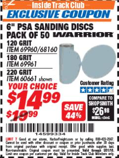 "Harbor Freight ITC Coupon 6"" PSA SANDING DISCS PACK OF 50 Lot No. 69961 Expired: 5/31/18 - $14.99"