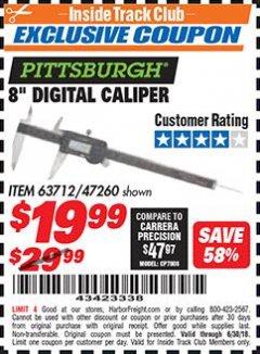 "Harbor Freight ITC Coupon 8"" DIGITAL CALIPER Lot No. 63712 Dates Valid: 6/1/18 - 6/30/18 - $19.99"