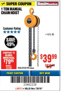 Harbor Freight Coupon 1 TON CHAIN HOIST Lot No. 69338/996 Expired: 7/8/18 - $39.99