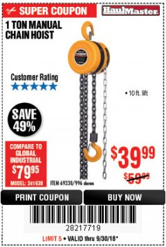 Harbor Freight Coupon 1 TON CHAIN HOIST Lot No. 69338/996 Expired: 9/30/18 - $39.99
