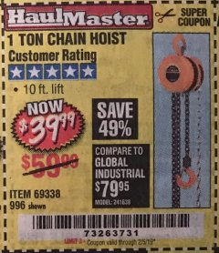 Harbor Freight Coupon 1 TON CHAIN HOIST Lot No. 69338/996 Expired: 2/5/19 - $39.99