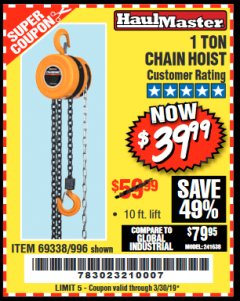 Harbor Freight Coupon 1 TON CHAIN HOIST Lot No. 69338/996 Expired: 3/30/19 - $39.99