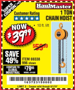 Harbor Freight Coupon 1 TON CHAIN HOIST Lot No. 69338/996 Expired: 6/1/19 - $39.99