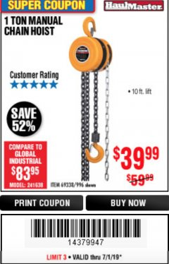 Harbor Freight Coupon 1 TON CHAIN HOIST Lot No. 69338/996 Expired: 7/1/19 - $39.99