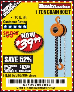 Harbor Freight Coupon 1 TON CHAIN HOIST Lot No. 69338/996 Valid: 2/4/20 - 6/30/20 - $39.99