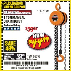 Harbor Freight Coupon 1 TON CHAIN HOIST Lot No. 69338/996 Valid Thru: 6/30/20 - $44.99