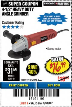 "Harbor Freight Coupon 4-1/2"" HEAVY DUTY ANGLE GRINDER Lot No. 91223/60372 Expired: 9/30/18 - $16.99"