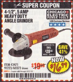 "Harbor Freight Coupon 4-1/2"" HEAVY DUTY ANGLE GRINDER Lot No. 91223/60372 Expired: 10/31/19 - $16.99"