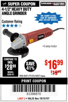 "Harbor Freight Coupon 4-1/2"" HEAVY DUTY ANGLE GRINDER Lot No. 91223/60372 Expired: 10/13/19 - $16.99"