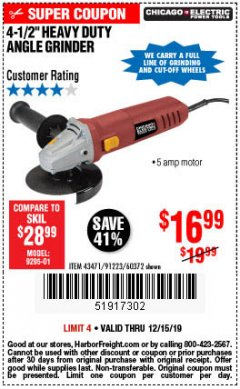 "Harbor Freight Coupon 4-1/2"" HEAVY DUTY ANGLE GRINDER Lot No. 91223/60372 Expired: 12/15/19 - $16.99"