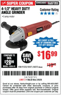 "Harbor Freight Coupon 4-1/2"" HEAVY DUTY ANGLE GRINDER Lot No. 91223/60372 Expired: 2/9/20 - $16.99"