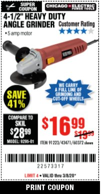 "Harbor Freight Coupon 4-1/2"" HEAVY DUTY ANGLE GRINDER Lot No. 91223/60372 Expired: 3/31/20 - $16.99"