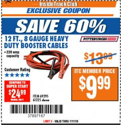 Harbor Freight ITC Coupon 12 FT., 8 GAUGE HEAVY DUTY BOOSTER CABLES Lot No. 69295/61225 Expired: 7/17/18 - $9.99