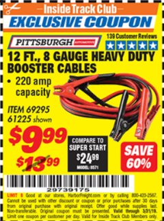 Harbor Freight ITC Coupon 12 FT., 8 GAUGE HEAVY DUTY BOOSTER CABLES Lot No. 69295/61225 Expired: 3/31/19 - $9.99