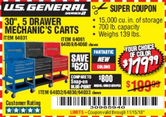 "Harbor Freight Coupon 30"", 5 DRAWER TOOL CART, BLACK Lot No. 64033/64032/64030 EXPIRES: 11/15/18 - $179.99"