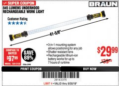 Harbor Freight Coupon BRAUN 845 LUMEN UNDERHOOD RECHARGEABLE WORK LIGHT Lot No. 63990 Expired: 9/30/18 - $29.99