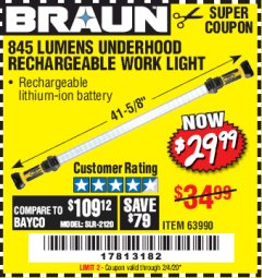Harbor Freight Coupon BRAUN 845 LUMEN UNDERHOOD RECHARGEABLE WORK LIGHT Lot No. 63990 Valid Thru: 2/4/20 - $29.99