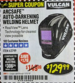 Harbor Freight Coupon VULCAN ARCSAFE AUTO-DARKENING WELDING HELMET Lot No. 63749 Expired: 12/31/18 - $129.99