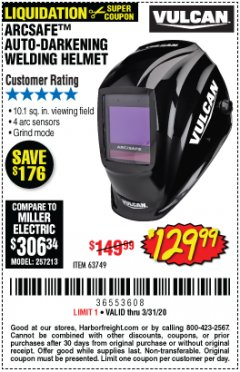 Harbor Freight Coupon VULCAN ARCSAFE AUTO-DARKENING WELDING HELMET Lot No. 63749 Expired: 3/31/20 - $129.99