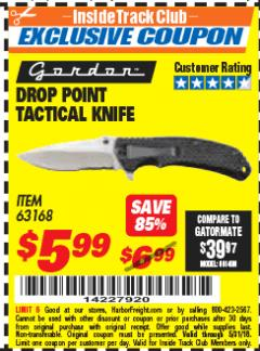 Harbor Freight ITC Coupon DROP POINT TACTICAL KNIFE Lot No. 63168 Expired: 5/31/18 - $5.99