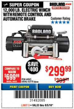 Harbor Freight Coupon BADLAND ZXR12000 12000 LB. OFF-ROAD VEHICLE ELECTRIC WINCH WITH AUTOMATIC LOAD-HOLDING BRAKE Lot No. 64045/64046/63770 Expired: 8/5/18 - $299.99