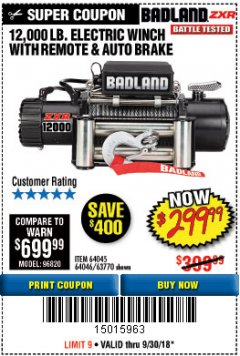 Harbor Freight Coupon BADLAND ZXR12000 12000 LB. OFF-ROAD VEHICLE ELECTRIC WINCH WITH AUTOMATIC LOAD-HOLDING BRAKE Lot No. 64045/64046/63770 Expired: 9/30/18 - $299.99