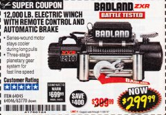 Harbor Freight Coupon BADLAND ZXR12000 12000 LB. OFF-ROAD VEHICLE ELECTRIC WINCH WITH AUTOMATIC LOAD-HOLDING BRAKE Lot No. 64045/64046/63770 Expired: 11/30/18 - $299.99