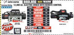 Harbor Freight Coupon BADLAND ZXR12000 12000 LB. OFF-ROAD VEHICLE ELECTRIC WINCH WITH AUTOMATIC LOAD-HOLDING BRAKE Lot No. 64045/64046/63770 Expired: 5/1/19 - $299.99