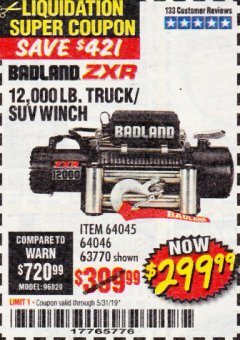 Harbor Freight Coupon BADLAND ZXR12000 12000 LB. OFF-ROAD VEHICLE ELECTRIC WINCH WITH AUTOMATIC LOAD-HOLDING BRAKE Lot No. 64045/64046/63770 Expired: 5/31/19 - $299.99