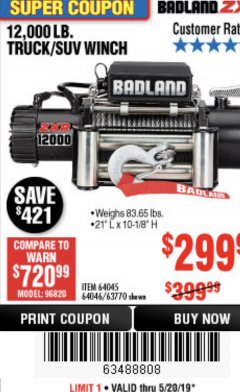 Harbor Freight Coupon BADLAND ZXR12000 12000 LB. OFF-ROAD VEHICLE ELECTRIC WINCH WITH AUTOMATIC LOAD-HOLDING BRAKE Lot No. 64045/64046/63770 Expired: 5/20/19 - $299.99
