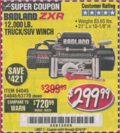 Harbor Freight Coupon BADLAND ZXR12000 12000 LB. OFF-ROAD VEHICLE ELECTRIC WINCH WITH AUTOMATIC LOAD-HOLDING BRAKE Lot No. 64045/64046/63770 Expired: 8/24/19 - $299.99