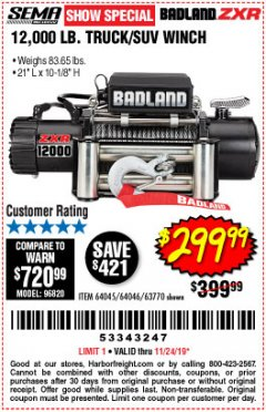 Harbor Freight Coupon BADLAND ZXR12000 12000 LB. OFF-ROAD VEHICLE ELECTRIC WINCH WITH AUTOMATIC LOAD-HOLDING BRAKE Lot No. 64045/64046/63770 Expired: 11/24/19 - $299.99