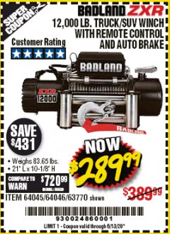 Harbor Freight Coupon BADLAND ZXR12000 12000 LB. OFF-ROAD VEHICLE ELECTRIC WINCH WITH AUTOMATIC LOAD-HOLDING BRAKE Lot No. 64045/64046/63770 Expired: 6/30/20 - $289.99