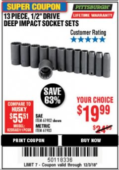 "Harbor Freight Coupon 13 PIECES, 1/2"" DRIVE, 12 POINT DEEP IMPACT SOCKET SETS Lot No. 61902/61903 Expired: 12/3/18 - $19.99"