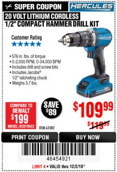 "Harbor Freight Coupon HERCULES 1/2"" COMPACT HAMMER DRILL/DRIVER KIT Lot No. 63382 Expired: 12/2/18 - $0"