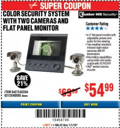 Harbor Freight Coupon COLOR SECURITY SYSTEM WITH 2 CAMERAS AND FLAT PANEL MONITOR Lot No. 62284/63129/60565 Expired: 7/1/18 - $54.99