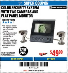 Harbor Freight Coupon COLOR SECURITY SYSTEM WITH 2 CAMERAS AND FLAT PANEL MONITOR Lot No. 62284/63129/60565 Expired: 8/26/18 - $49.99