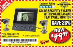 Harbor Freight Coupon COLOR SECURITY SYSTEM WITH 2 CAMERAS AND FLAT PANEL MONITOR Lot No. 62284/63129/60565 Expired: 4/20/19 - $49.99