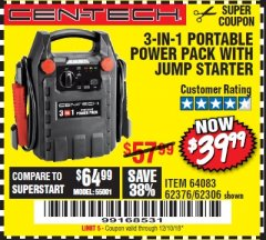 Harbor Freight Coupon 3-IN-1 PORTABLE POWER PACK WITH JUMP STARTER Lot No. 38391/60657/62306/62376/64083 Expired: 12/10/18 - $39.99