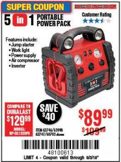Harbor Freight Coupon 5-IN-1 PORTABLE POWER PACK Lot No. 60703/62747/63998/63746 Expired: 9/3/18 - $89.99