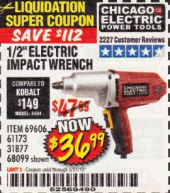 "Harbor Freight Coupon 1/2"" ELECTRIC IMPACT WRENCH Lot No. 31877/61173/68099/69606 Expired: 5/31/19 - $0"