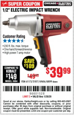 "Harbor Freight Coupon 1/2"" ELECTRIC IMPACT WRENCH Lot No. 31877/61173/68099/69606 Expired: 1/20/20 - $39.99"
