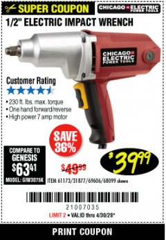 "Harbor Freight Coupon 1/2"" ELECTRIC IMPACT WRENCH Lot No. 31877/61173/68099/69606 Valid Thru: 4/30/20 - $39.99"