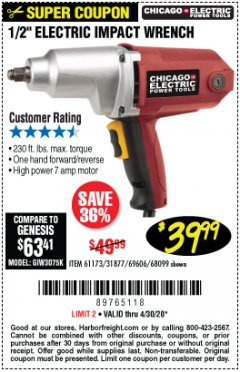 "Harbor Freight Coupon 1/2"" ELECTRIC IMPACT WRENCH Lot No. 31877/61173/68099/69606 Valid: 3/31/20 - 4/30/20 - $39.99"