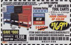"Harbor Freight Coupon 30"", 5 DRAWER MECHANIC'S CARTS (RED, BLUE & BLACK) Lot No. 64031/64033/64032/64030/61427/64059/64060/64061/63308/95272 Expired: 7/11/18 - $169.99"