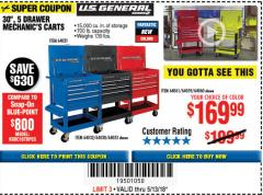 "Harbor Freight Coupon 30"", 5 DRAWER MECHANIC'S CARTS (RED, BLUE & BLACK) Lot No. 64031/64033/64032/64030/61427/64059/64060/64061/63308/95272 Expired: 5/13/18 - $169.99"