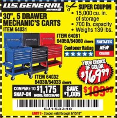 "Harbor Freight Coupon 30"", 5 DRAWER MECHANIC'S CARTS (RED, BLUE & BLACK) Lot No. 64031/64033/64032/64030/61427/64059/64060/64061/63308/95272 Expired: 9/10/18 - $169.99"